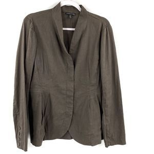 Eileen Fisher Linen Hidden Zipper Blazer Jacket